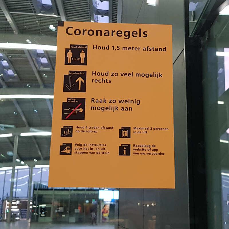 Coronaregels in de treinstations
