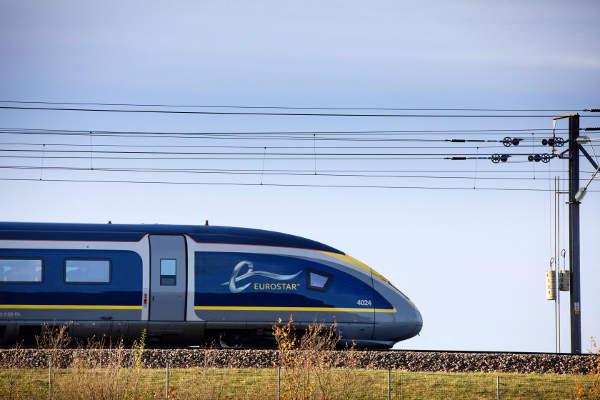 Trein van Eurostar door Groot-Brittannië